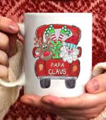 Papa Claus Truck Christmas Coffee Mug - 11oz White Mug