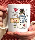 I Love Being A Ollie Snowman Coffee Mug - 11oz White Mug
