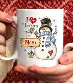 I Love Being A Moma Snowman Coffee Mug- 11oz White Mug