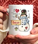 I Love Being A Shelby Snowman Coffee Mug - 11oz White Mug