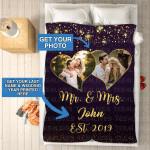 Custom Photo Blanket Personalized Mr And Mrs - Fleece Blankets