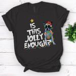 Is This Jolly Enough Boston Terrier Santa Christmas Light T-shirt- Standard Women's T-shirt