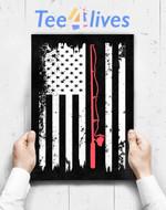 Custom Poster Prints Wall Art American Flag Fishing Vintage Fishing