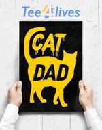 Custom Poster Prints Wall Art Best Cat Dad Fathers Day Men Kitty Daddy Papa Christmas Gift