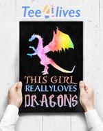 Custom Poster Prints Wall Art Cute Dragon Gift Girl Loves Dragons Gift Rainbow