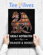 Custom Poster Prints Wall Art Easily Distracted By Dragon And Books Nerds