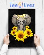 Custom Poster Prints Wall Art Elephant Sunflower Cute Elephant Love Sunflower