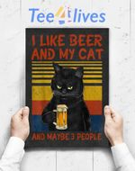 Custom Poster Prints Wall Art I Like Beer My Cat And Maybe 3 People Funny Cat Lovers Gift