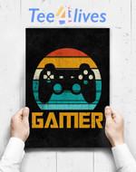 Custom Poster Prints Wall Art Retro Gamer Video Games Player Gaming Boys Teens Men Gift