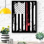 American Flag Fishing Vintage Fishing Canvas Prints Wall Art - Matte Canvas