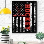 American Flag Hockey Usa Patriotic Gift Canvas Prints Wall Art - Matte Canvas