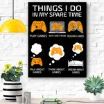 6 Things I Do In My Spare Time Funny Video Games Gamer Canvas Prints Wall Art - Matte Canvas