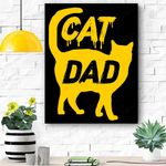 Best Cat Dad Fathers Day Men Kitty Daddy Papa Christmas Gift Canvas Prints Wall Art - Matte Canvas