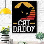 Cat Daddy Vintage Eighties Style Cat Retro Distressed Canvas Prints Wall Art - Matte Canvas
