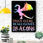 Cute Dragon Gift Girl Loves Dragons Gift Rainbow Canvas Prints Wall Art - Matte Canvas