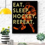 Eat Sleep Hockey Repeat Gift Canvas Prints Wall Art - Matte Canvas