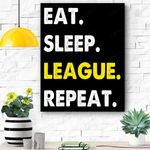 Eat Sleep League Repeat Sports Game Gaming Gift Canvas Prints Wall Art - Matte Canvas