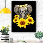 Elephant Sunflower Cute Elephant Love Sunflower Canvas Prints Wall Art - Matte Canvas
