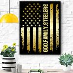 God Family Steelers Pro Us Flag Father's Day Dad Gift Canvas Prints Wall Art - Matte Canvas