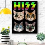 Hiss Funny Cats Kittens Rock Rockin Gift Pun Canvas Prints Wall Art - Matte Canvas