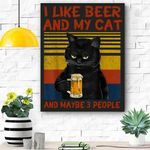 I Like Beer My Cat And Maybe 3 People Funny Cat Lovers Gift Canvas Prints Wall Art - Matte Canvas