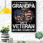 I'm A Dad Grandpa And A Veteran Nothing Scares Me Canvas Prints Wall Art - Matte Canvas