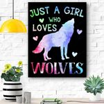 Just A Girl Who Loves Wolves Watercolor Cute Wolf Lover Gift Canvas Prints Wall Art - Matte Canvas