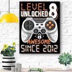 Level 8 Unlocked Awesome Since 2012 Video Game 8th Birthday Canvas Prints Wall Art - Matte Canvas