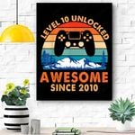Level 10 Unlocked Birthday 10 Years Old Awesome Since 2010 Canvas Prints Wall Art - Matte Canvas