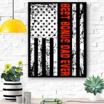 Mens Step Dad For Gift Best Bonus Dad Ever American Flag Canvas Prints Wall Art - Matte Canvas