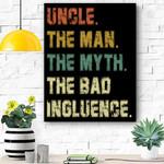 Mens Vintage Fun Uncle Man Myth Bad Influence Funny Canvas Prints Wall Art - Matte Canvas