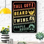 Perfect Gift For Kids Dude Tall Guy Beard Twins Purple Hoser Canvas Prints Wall Art - Matte Canvas