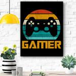 Retro Gamer Video Games Player Gaming Boys Teens Men Gift Canvas Prints Wall Art - Matte Canvas