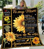 Custom Blanket Sunflower To My Mom Blanket - Gift For Mom - Fleece Blanket