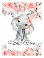 Custom Blanket Personalized Baby Name Pink Floral Elephant Baby Blanket