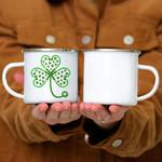Custom Mug Womens Shamrock Stethoscope Nurse St Patricks Day Lucky - Campfire Mug
