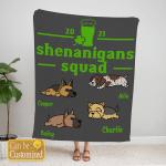 Custom Blanket Personalized 4 Dogs Shenanigans Squad Blanket - Gift For Saint Patrick's Day- Fleece Blanket
