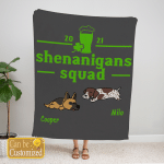 Custom Blanket Personalized 2 Dogs Shenanigans Squad Blanket - Gift For Saint Patrick's Day- Fleece Blanket