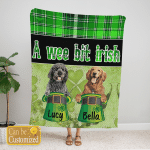 Custom Blanket Personalized 2 Breed Of Dogs A Wee Bit Irish - Gift For Saint Patrick's Day - Fleece Blanket