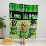 Custom Blanket Personalized 3 Breed Of Dogs A Wee Bit Irish - Gift For Saint Patrick's Day - Fleece Blanket