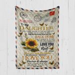 Custom Blanket Personalized Name Letter Sunflower To My Daughter - Gift From Dad - Quilt Blanket