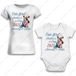 Personalized Combo Women's T-Shirt + Onesie Our First Mother's Day 2021- Gift For Mother Day - Premium Women's T-shirt + Onesie