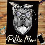 Custom Jigsaw Puzzle Pittie Mom Cute Pitbull Mama Leopard - Mother's Day Gift