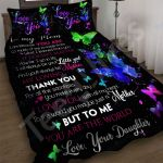 Custom Bedding To My Mom Butterflies Black Bedding Set - Mother's Day Gift From Daughter To Mom
