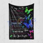 Custom Blanket To My Mom Butterflies Black Blanket - Mother's Day Gift From Daughter To Mom - Quilt Blanket