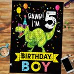 Custom Jigsaw Puzzle Kids 5 Year Old Shirt 5th Birthday Boy T Rex Dinosaur