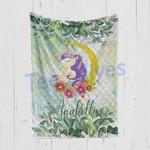 Personalized Gift For Kids Custom Name Unicorn Floral Blanket 3 - Quilt Blanket