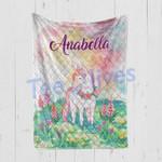 Personalized Gift For Kids Custom Name Unicorn Floral Blanket 7 - Quilt Blanket