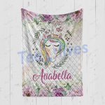 Personalized Gift For Kids Custom Name Unicorn Floral Blanket 9 - Quilt Blanket