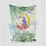 Personalized Gift For Kids Custom Name Unicorn Floral Blanket 3